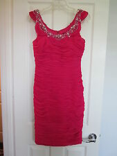 TERANI COUTURE Fuchsia Pink Short Evening Ruched Cocktail Dress sz 8