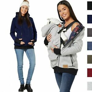 HAPPY MAMA Women's Maternity Hoodie Zipped Carrier Baby Holder Pullover 1005