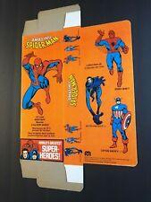"ORIG VTG Mego Spider-Man Box Flat 12"" Doll Marvel Avengers Capt America WGSH NOS"
