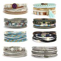 Multi-layer Boho Women Leather Magnetic Clasp Bracelet Cuff Bangle Wristband Hot