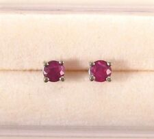 Ruby Stud 14K WG New Genuine .75ct Bold Round Red Earrings Gift Boxed White Gold
