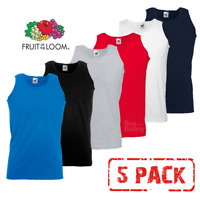 5 x Fruit Of The Loom ATHLETIC VEST TANK TOP GYM PLAIN SPORTS COTTON MEN 5 PACK