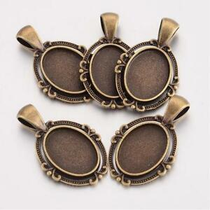 10 x Oval Pendant Tray Blank Cabochon Settings, Antique Bronze, Tray: 18x13mm