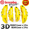 YELLOW Brembo Style Universal Disc Brake Caliper Covers 4PCS Front & Rear NEW 3D