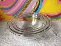 Vintage Pyrex Corning Mixing Bowl Lot 3 Clear Glass 322 323 325 1L 1.5L 2.5L