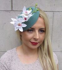 White Teal Green Orchid Flower Pillbox Hat Fascinator Races Rockabilly Vtg 3194