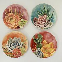 Set of (4) NWT Pier 1 ~  SUCCULENTS Salad Plates Southwest Cacti CACTUS Marfa