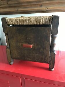 Vintage Woven & Wooden Footstool With Drawer Detail Approx 14/14/14 Inches