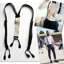 TRAFALGAR BLACK WOVEN BRACES SUSPENDERS OS