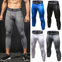Men 3/4 Compression Pants Base Layer Sports Fitness Gym Workout Trousers Tights