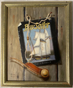 """Oil On Wood Panel Trumpe-l'oeil By Amio Hill From Balt. MD Titled """"By Sailor"""""""