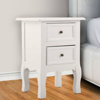 1PC White Wooden End Side Bedside Table w/2 Drawers Door Storage Nightstand