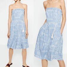 Zara NWT Printed Denim Dress Midi Size S