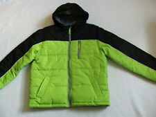 NWT Boys Bubble Jacket Size 10 12 M Soft Shell Coat Puffer Black Neon Winter NEW