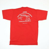 Vtg 80s Wood Stove Machine Shop Work T-Shirt LARGE Single Stitch USA Made Red