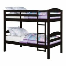 Kids Bunk Bed Twin Brown Wooden Convertible Childrens Furniture Frame Bunkbed