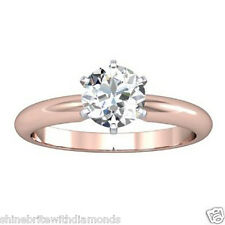 1.25 Ct Round Cut Solitaire Engagement Wedding Ring Solid 18K Rose Pink Gold