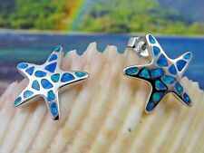 BRILLIANT STERLING SILVER STARFISH POST EARRINGS WITH BLUE FIRE OPAL INLAY