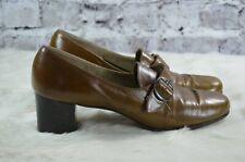 vintage 1970s Florsheim womens cognac leather buckle heels 9AAAA narrow