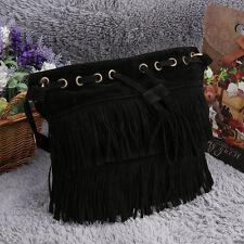Women Imitation Suede Fringe Tassel Shoulder Bag Handbags Messenger Bag E5