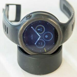 Motorola Moto 360 Sport 45mm Black Smartwatch + Charging Base EXCELLENT