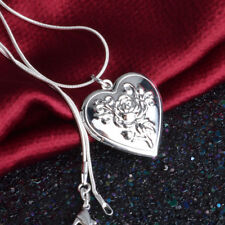Women 925 Sterling Silver Heart Rose Flower Photo Locket Pendant Necklace Choker