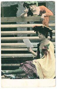 c 1904 Glamour British Beauty HER SWEETHEARTS Portrait Edwardian photo postcard