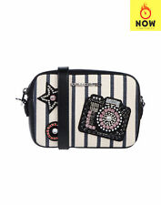RRP€325 KARL LAGERFELD Leather & Canvas Crossbody Clutch Bag Rhinestones Patches