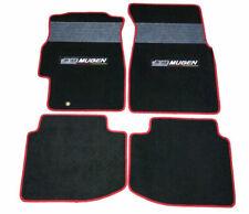 For 96-00 Honda Civic Floor Mats Front & Rear Nylon Black w/ Grey Strip & Mugen