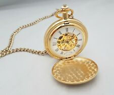 Mount Royal Gold Plated Double Hunter Pocket Watch with White Skeleton Dial