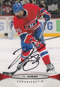 P.K.SUBBAN NO:OS8 AUTHENTIC AUTOGRAPH CARD 5 X 4 in UPPER DECK 2011-12