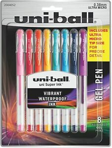 uni-ball 2004052 Gel Pens, Ultra Micro Point (0.38mm), 8-Count, Assorted