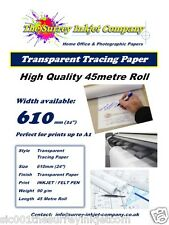 A1 Inkjet Drafting Tracing Paper Roll 610mm x 45 MTR 90gsm PLOTTER PRINTABLE