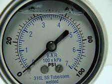 """302LFW-254E 2.5"""" Glycerin Filled SS 316 Internal Gauge 1/4"""" NPT CBM 0/100 psi"""