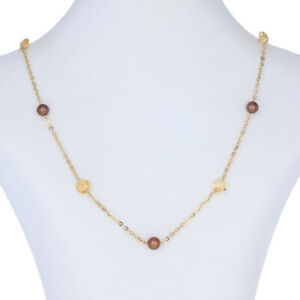 Cultured Pearl & Citrine Necklace - 14k Yellow Gold Adjustable Length 6.25ctw