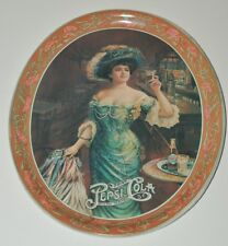 "Vintage Pretty Lady Pepsi Cola 12.5"" Metal Serving Tray Rich Women Bar Room Tip"