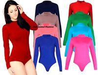 New Womens Turtle Neck Bodysuit Ladies Long Sleeve Stretch Leotard Top 8-14