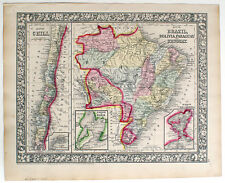 1866 CHILE BRAZIL BOLIVIA PARAGUAY URUGUAY, MITCHELL ANTIQUE HAND-COLORED MAP