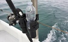 ROBOCUP BLACK Clamp On Cup Holder Drink Boat Boating Fishing Pole Rod Organizer!