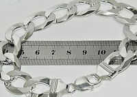 STERLING SILVER MENS 9 INCH CURB BRACELET - HEAVY CHUNKY 14mm - Solid 925 Silver