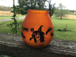 Vintage Candle Corp of America Glass Halloween Candle 130 Low Boy Witch Bats USA