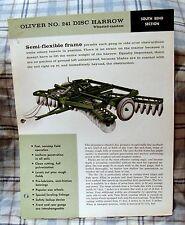 Vintage Oliver Corporation No. 241 Disc Harrow Dealers Sales Brochure-Ca 1960's!