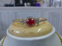 "E$5000 5ct Multi-Shaped Ruby & Diamond 14k Yellow Gold Over 7"" Bangle Bracelet"
