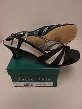 DAVID TATE Womens ROSETTE Black Satin Slingback Pumps Size US 11W (AA-617)