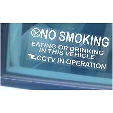 2 x Vehicle,Car,Minibus Warning Stickers-NO SMOKING,Eating,Drinking-CCTV Sign LG