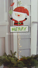 Santa Lawn Stake 35 Lights Metal Sign Merry Christmas Yard Display Decoration