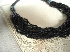 """Vintage Necklace Black & White Glass seed beads Multi Strand Mop Button 25"""""""