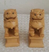 Rare Vintage Chinese Boxwood Fu Foo Dog Lions Statue Set Pair Hand Carved