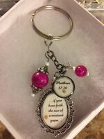 Scripture Keychain Matthew 17:20 With Mustard Seed (Round Pendant only)