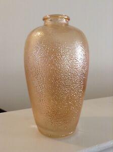 RARE FROG-SKIN CARNIVAL GLASS VASE MARIGOLD AMBER BLOWN BUBBLES 278 F